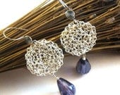 Lace crochet wire dangle earrings purple glass beads vintage style
