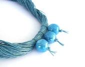 Blue linen necklace with ceramic balls, robbins egg necklace, spring fashion, garden party necklace