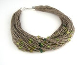 Spring linen necklace, sparkling beads necklace , green necklace , hemp necklace