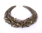 Wooden beaded necklace, linen multistrand necklace, eco style wooden necklace, modern rustic, fall fashion, taupe necklace