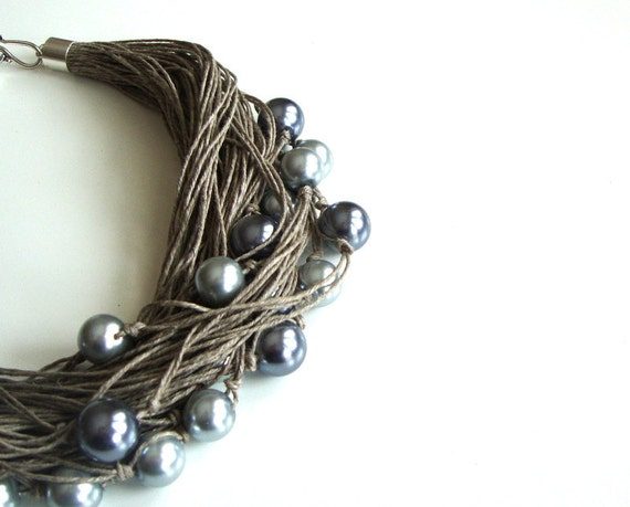 Pearl linen necklace, beaded necklace, fashion, spring necklace silver acrylic beads