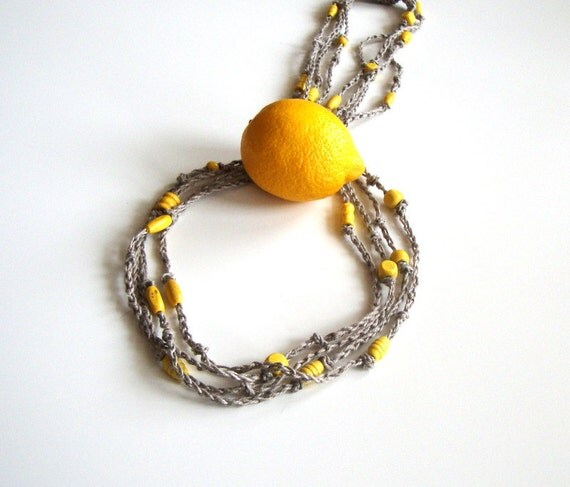 Lemon - beaded linen necklace, yellow necklace, long, multistrand, summer fashion, casual