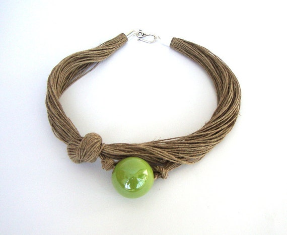 Lime green ceramic necklace, linen necklace, eco friendly jewelry, linen choker, fall fashion jewelry