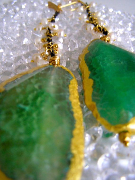 Emerald Druzy Earrings, Gold Dipped Agate Geodes With Freshwater Pearls - (No Plain Jane)