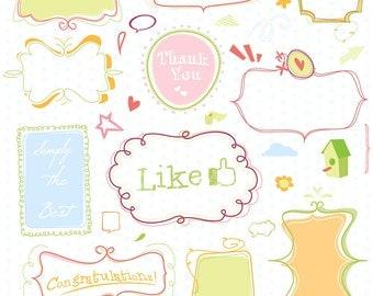 Doodle frames mega pack digital clip art including lots n lots of extra elements