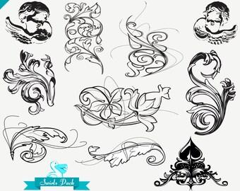 ORNAMENTAL DAMASK SWIRLS vintage digital design pack