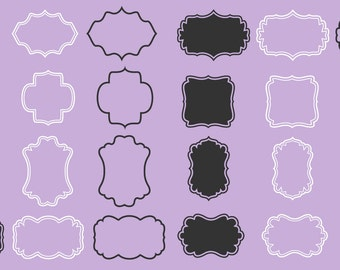Digital frames labels tags set 24 designs including vector files black and white