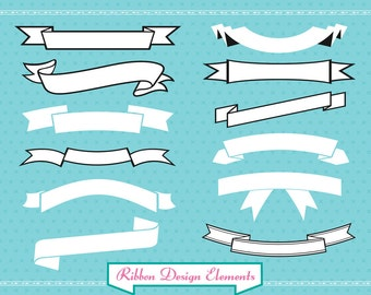 Ribbon Banner set clipart for digital scrapbooking, labels, invitations INCLUDING BLACK versions