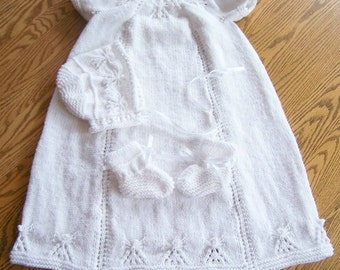 New Hand Knit Angel Christening Gown Bonnet and Bootie Set 0-6 m