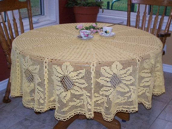 New large crocheted Sunflower Tablecloth in Sunny Yellow 84 inch