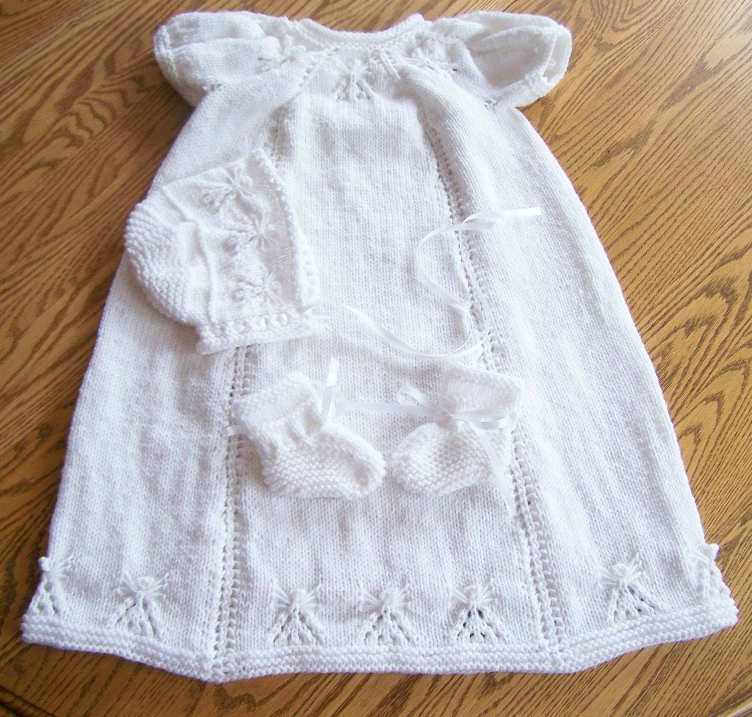 New Hand Knit Angel Christening Gown Bonnet and by hookinontheside