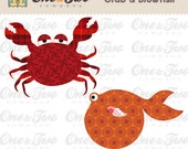 Instant Download - Fabric APPLIQUE TEMPLATE Only PDF - Crab & Blowfish - Permission to Sell Finished Items