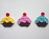 Cupcake Applique - PDF Crochet Pattern - Instant Download - Embellishment Accessories Decor Ornament Scrapbooking Motif