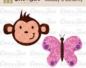 Instant Download - Fabric APPLIQUE TEMPLATE Only PDF - Monkey & Butterfly - Permission to Sell Finished Items