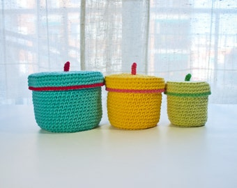 Instant Download - PDF CROCHET PATTERN - 3 Crochet Boxes  (Quick and Easy)  -  Permission to Sell Finished Items