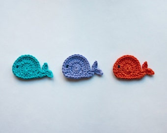 Instant Download - PDF Crochet Pattern - Whale Applique - Text instructions and SYMBOL CHART instructions