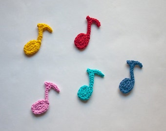 Instant Download - PDF Crochet Pattern - Musical Note Applique - Text instructions and SYMBOL CHART instructions