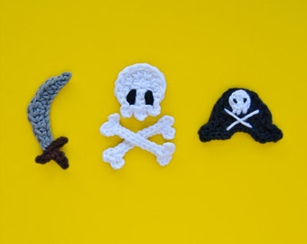 Instant Download - PDF Crochet Pattern - Pirate Skull, Sword and Hat Applique - Text instructions and SYMBOL CHART instructions