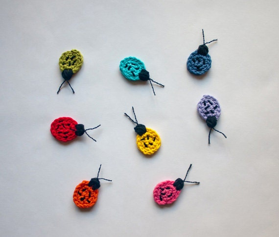 Instant Download - PDF Crochet Pattern - Ladybug Applique - Text instructions and SYMBOL CHART instructions
