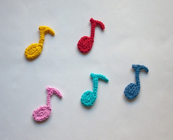 Crocheting Music : Instant Download - PDF Crochet Pattern - Musical Note Applique - Text ...