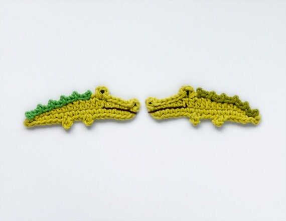Instant Download - PDF Crochet Pattern - Crocodile Applique - Text instructions and  SYMBOL CHART instructions