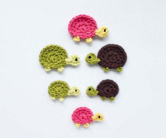 Instant Download - PDF Crochet Pattern - Mom and Baby Turtle Applique - Text instructions and SYMBOL CHART instructions