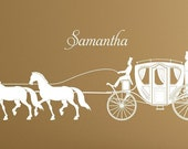Large Princess Horse and Carriage wall vinyl design decal