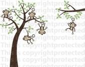 Sale 5 Monkeys  Swinging from a tree Vine Vinyl Wall Graphics Vinyl Wall Monkeys Happy  Monkeys Jungle Friends