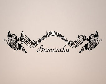 personalized name musical flying butterflies butterfly music wall vinyl design decal