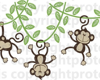 Children Wall Decal Cheeky Monkey  Nursery Decal 3 Monkeys  Swinging from a Vine Wall Monkeys Happy  Monkey Jungle Friends