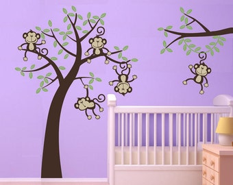 Sale baby room nursery 5 Happy Monkeys  Swinging from a tree and Vine Vinyl Wall Graphics Vinyl Jungle Friends