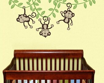 3 Monkeys Swinging from a Vine Childrens Wall Decal Wall Nursery Decal