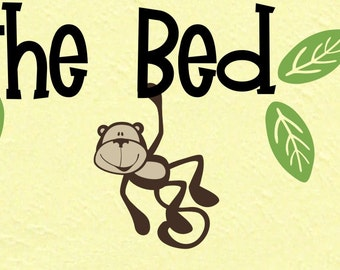 36 inches wide No more Monkeys jumping on the bed wall words wall quote design decal Monkeys Jungle Friends