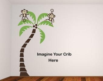 Sale Happy Girl or Boy Monkeys 2 Monkeys Swinging from a palm tree Vinyl Wall Graphics Jungle Friends
