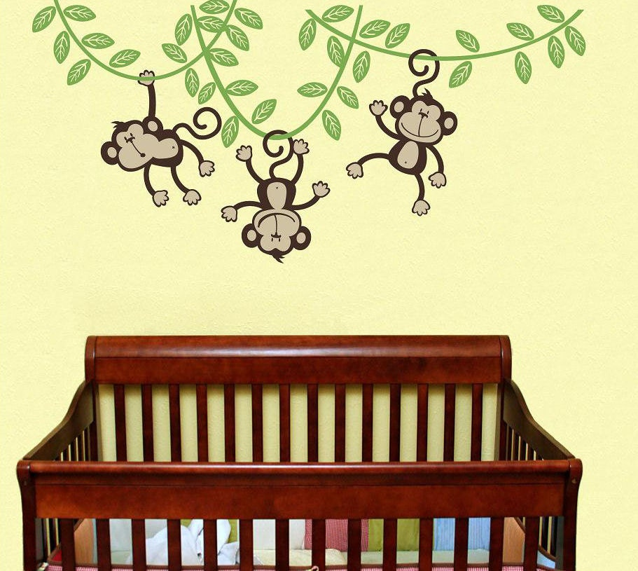 3 monkeys swinging from a vine children wall decal wall. Black Bedroom Furniture Sets. Home Design Ideas
