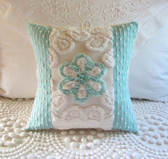 AQUA ROSE vintage chenille pillow cover