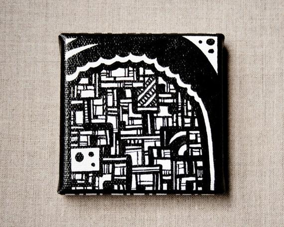 Mini Canvas Original Art Magnet - Modern Black and White Cloud Banner Design - Miniature Hand Painted Zen Home Decor by dots2lines