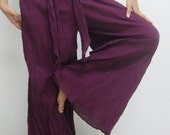 Purple Pants Casual Cotton Mix to Coconut Shell B