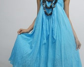 Lovely Blue(Aquamarine) Cotton Coconut Shell Beach with 3 Styles in 1 Piece (Long Skirt or Dress)