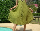 Olive Green Cotton Sexy Party Beach Dress Mix to Coconut Shell (Long Skirt or Dress) A