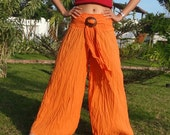 Orange Pants Casual Cotton Mix to Coconut Shell