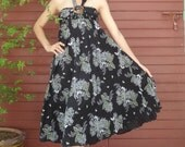Black floral Long Skirt Cotton Mix to Coconut Shell with 3 Styles in 1 Piece A