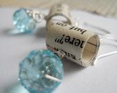 Bookworm Earrings- Aquamarine - Paper Bead Jewelry Recycled Books