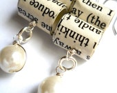 Bookworm Pearl Earrings, Paper Bead Jewelry From Recycled Books