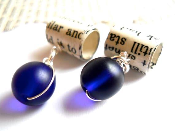 Indigo Bookworm Earrings - Paper Bead Jewelry - Recycled Books