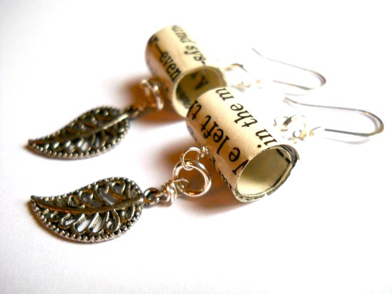Book page earrings with silver leaf, jewelry made from recycled books