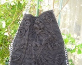 """Large boho handmade crochet tote bag in black cotton with silver chain gift  free clutch """"Mykonos'' by golden yarn"""