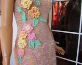 Handmade knitted sleeveless dress/sweater in nude/sorbet ''Maria''