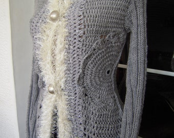 SALE  jacket handmade crochet long  crochet sweater in grey and ivory ready to ship for her gift idea Size M by golden yarn