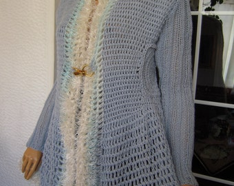 SALE cardigan handmade  crochet jacket cardigan sweater for her ready to ship plus size by golden yarn